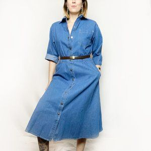 Vintage 80s Denim Jean Button Midi Shirt Dress M